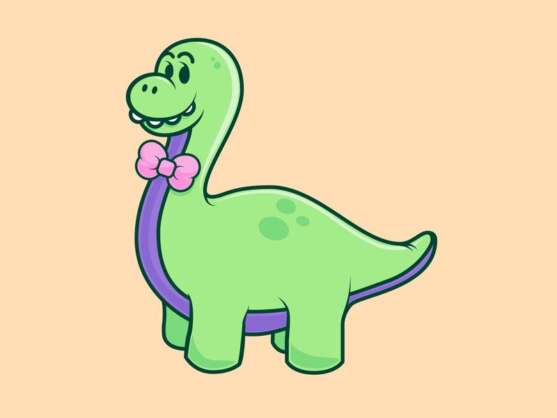Polite Dinosaur smiling pink peach illustration cartoon long neck dinosaur dino doodle bowtie icon purple green vector custom dinosaur
