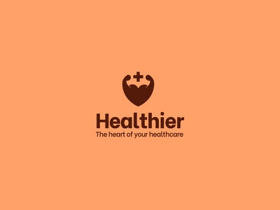 Healthier - Health & Sports App Logo android sports logodesigner freelancer freelance design branding brand mark illustration muscles logos gym fitness sport heart logo logo negativespace heart health