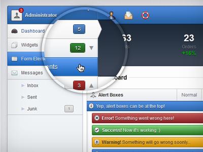 Admin Template - Navigation web ui blue navigation ux admin side nav