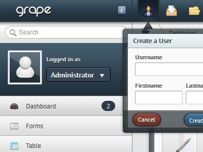 Admin Template - Grape web ui blue ux admin form navigation button
