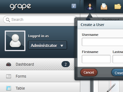 Admin Template - Grape web ui blue ux admin form navigation button