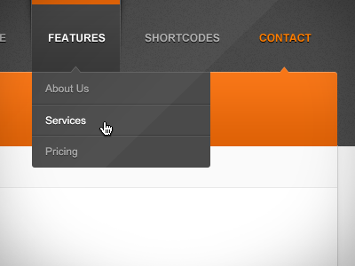 Business Theme - Navigation web ui orange ux business navigation dropdown hover