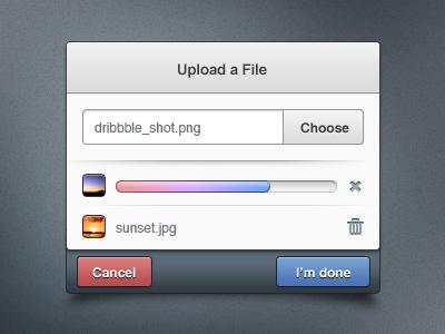 Upload Dialog web ui ux gui blue red modal dialog upload button form clean modern