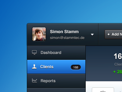 Web App [blue] app web ui ux gui blue red orange navigation button form profile clean modern slick