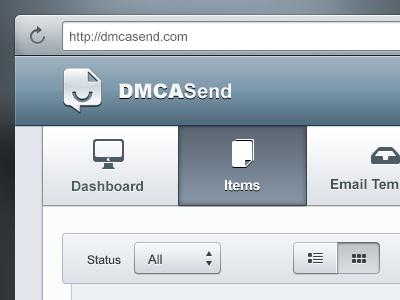 DMCASend Sneak Peek #1: Navigation ui web blue ux navigation dmcasend modern clean gui button select icons grey