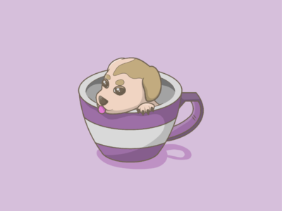 Teacup dog minimal design vector minimalism inspiration illustrations illustration graphicdesign graphic flat draw digital illustration daily concept colorful clean art adobe 2d
