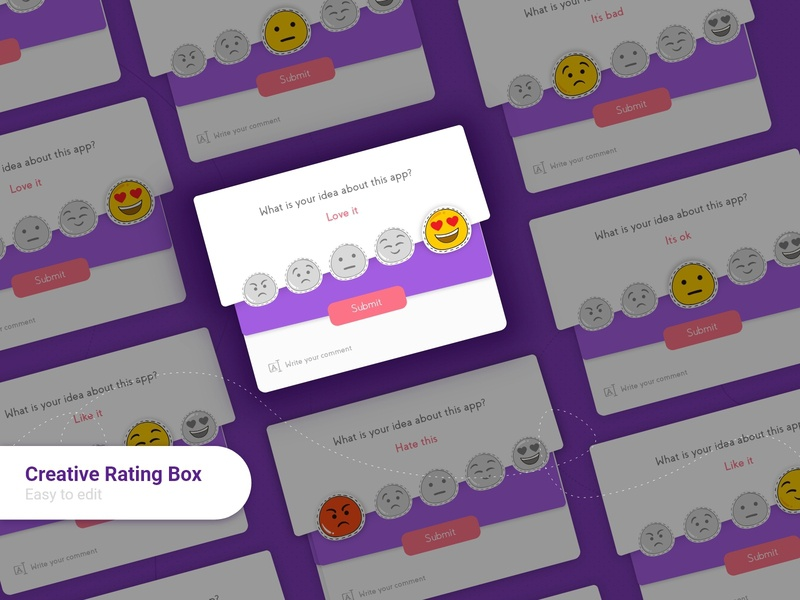 Creative Rating Box android design rating pop up app