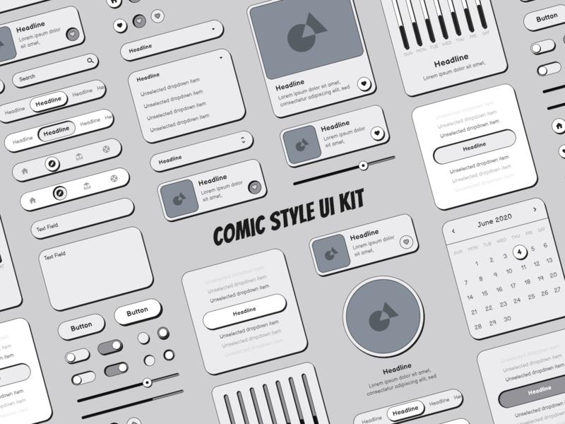 Comic Style Ui Kit comic kit comic style ui elements elements design design system ui ui design ui kit comic art comics comic