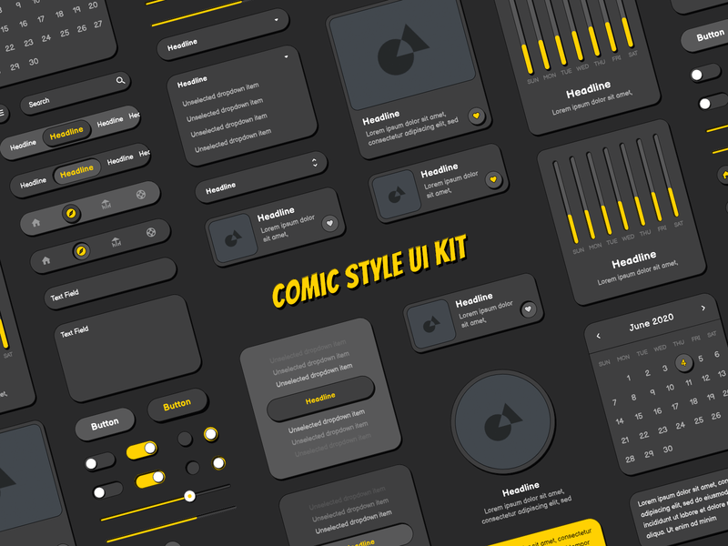 Dark Comic Style Ui Kit comic kit comic style ui elements elements design design system ui ui design ui kit comic art comics comic