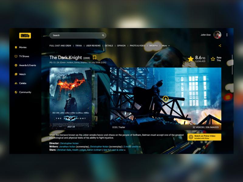 IMDB Desktop App desktop fluent cinema imdb video player batman dark knight dark film movie