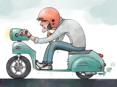 Sup I'm Driving vespa character illustration digital watercolor