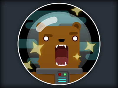 Like bears in the rain... badge magic space bear illustration