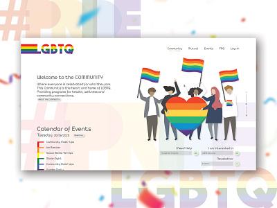 LGBTQ Community pridemonth pride ui design ui  ux uidesign uiux ui design typography illustration photoshop website design web design webdesign website community lgbtqia lgbtq lgbt