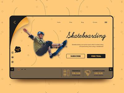 Skateboarding Website Concept Design illustration design website design typography photoshop uidesign webdesign ux uiux ui