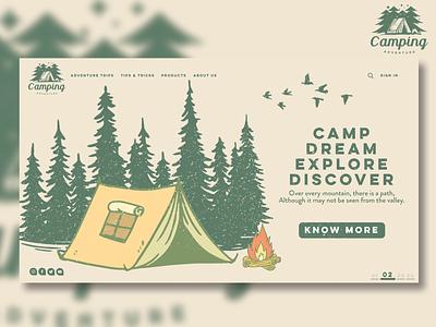 Camping Adventures Concept Website Design typography logo magazine illustration website design uidesign webdesign uiux ux ui