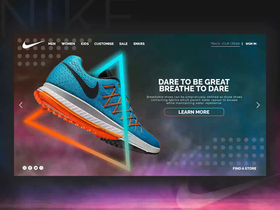 NIKE Concept Website Design website design interface interactive branding logo illustration uidesign design webdesign ux uiux ui