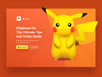 Landing Page for Pokemon Go App app game orange landingpage landing 3d pikachu pokemongo pokemon