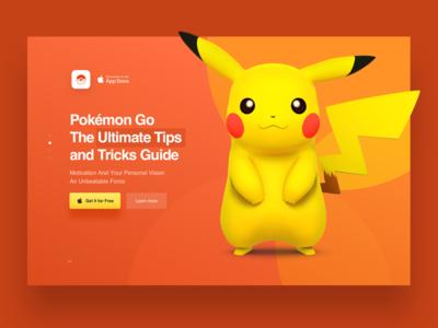 Landing Page for Pokemon Go App app game orange landingpage landing 3d pikachu pokemongo pokemon