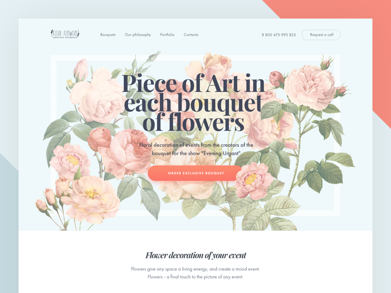 Flowers Landing Page  ux ui one lp page landing flowers bouquet art color beauty