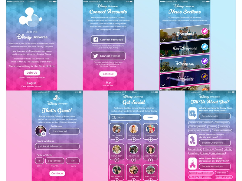 Onboarding Experience for Disney Universe - Social Platform social platform disney universe the walt disney company disney