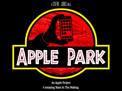 "Apple Park - ""Innovation Finds A Way"" steve spielberg jurassic park parody logo apple park apple"