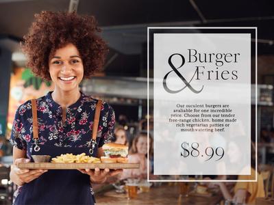 Burger and fries branding illustrator design advertising graphic layout banner ads website banner banner ad