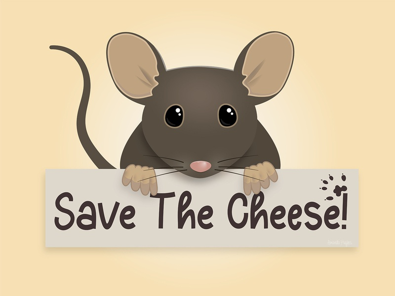 Save the Cheese illustration cartoon protest mouse protest mouse and board mouse