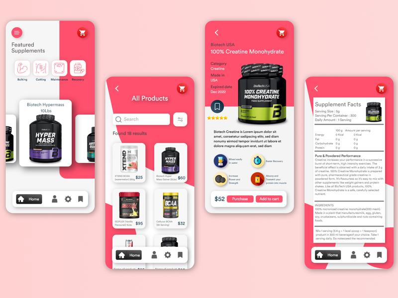 Fitness Supplement Store Mobile Apps Design minimal flat web app icon vector design ux illustration ui
