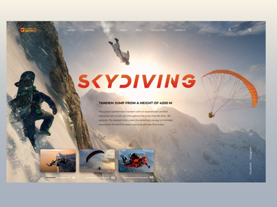 Website concept - Skydiving illustrations typography xd skydiving landingpage photoshop design website web ux ui