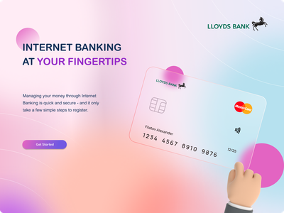 Internet Banking - Lloyds Bank vector branding typography gradient design top shots design concept card ui internet banking ux ui