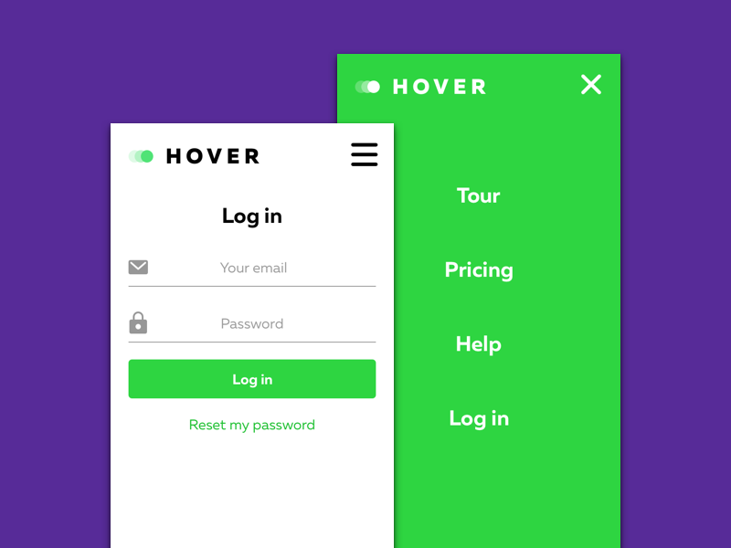 Mobile view of HOVER login & menu page responsive mobile hover