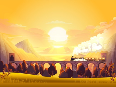 Through the mountains | Illustration mountains train sunset digitalartwork illustration art illustration colorfull digitalart digital art 2d art vector illustration vector art vector landscape art at sunset mountain scape locomotive bridge railway