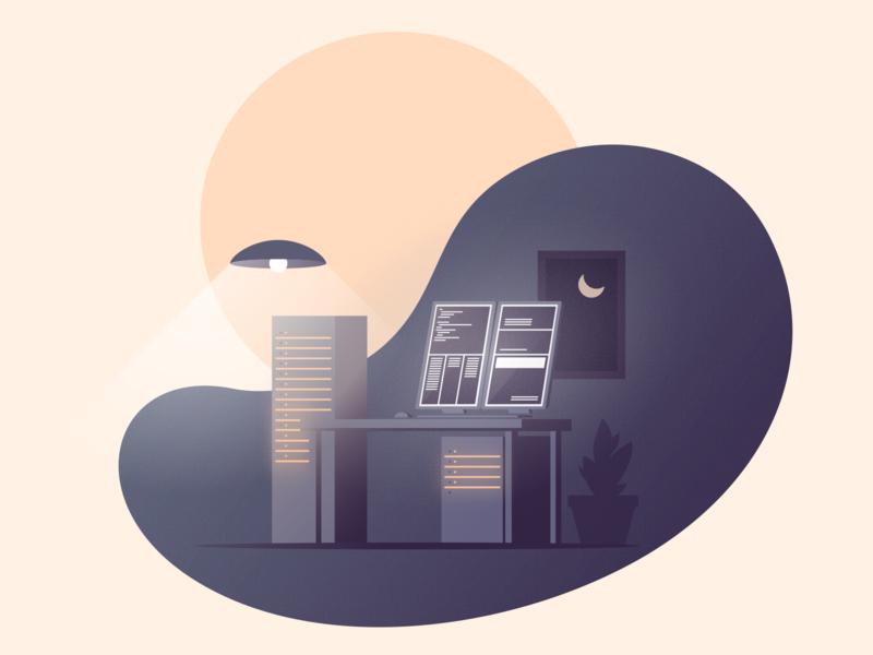 DevOps Home Office illustration vector interior office developer
