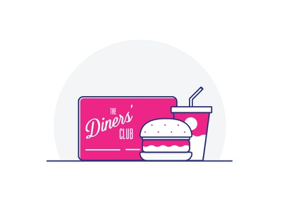 Diners Club Card money infographic line food illustration