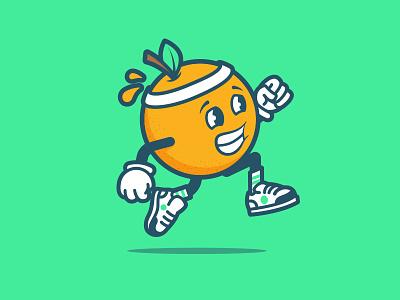 Meet Julius from RunOC logo mark identity brand fruit mascot character orange running illustration