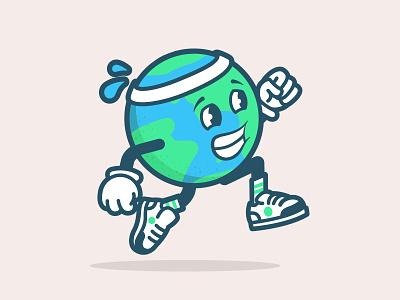 Global Running Day Julius run earth running character logo brand illustration