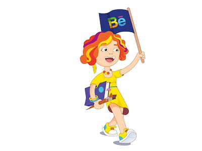 Self portrait characterdesign character walk vector illustration girl illustration portrait cartoon girl