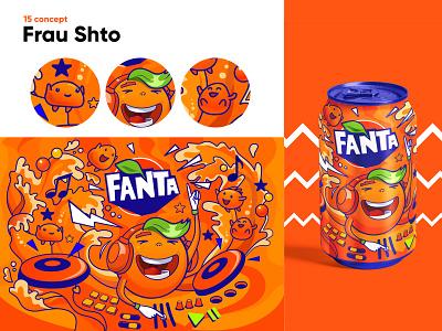 Fanta concept music summer orange vector 2d package drink concept fanta illustration character cartoon