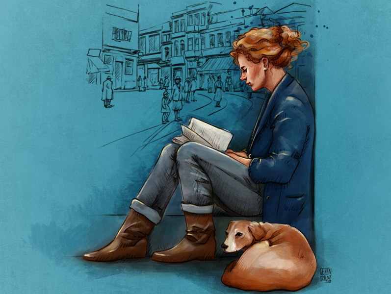 reading book to the dog by Sezen on Dribbble