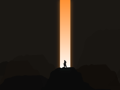 Above all. visual graphic vector illustration song music muse inspiring hope apocalypse laser mountains hills shadow silhouette gaming assassin man light beam