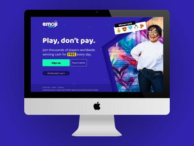 Free Emoji Lottery - Redesigned homepage - Gaming Startup money desktop web emoji lottery gaming homepage startup