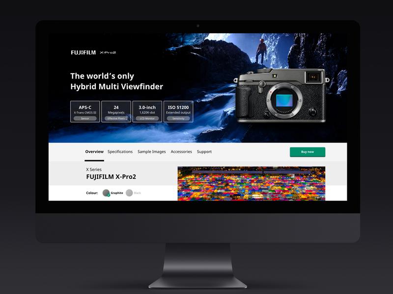 Uninvited redesign: FUJIFILM X-Pro2 - Product Page desktop web shopping shop photgraphy ecommerce fujifilm product camera