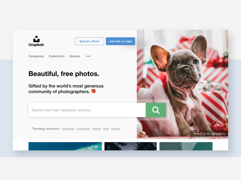 Uninvited redesign: Unsplash redesign homepage design home page homepage unsplash grid trending dog ux ui clean search bar stock images stock photograhy photo minimal adobe xd