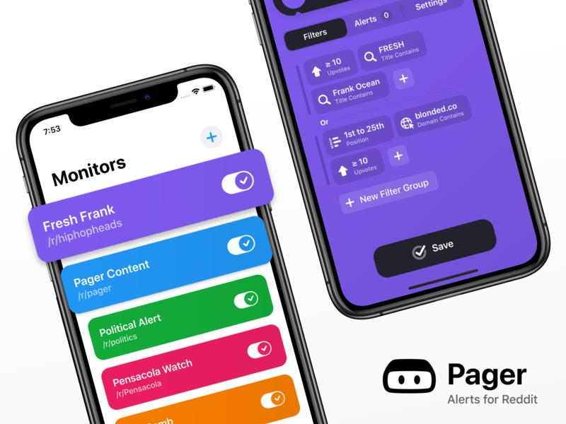 Pager: Alerts for Reddit ux ui pager reddit mobile app ios