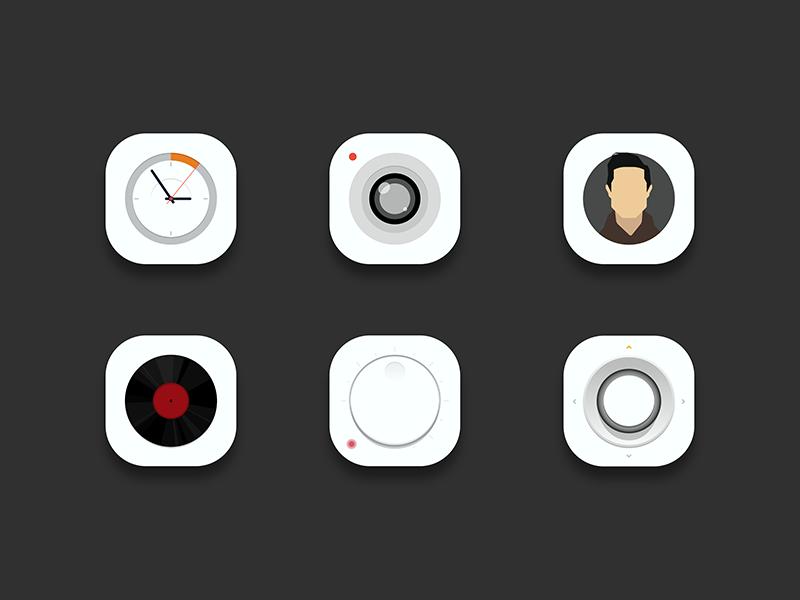 Desktop icon icon ai simple sound avatar set music camera clock white
