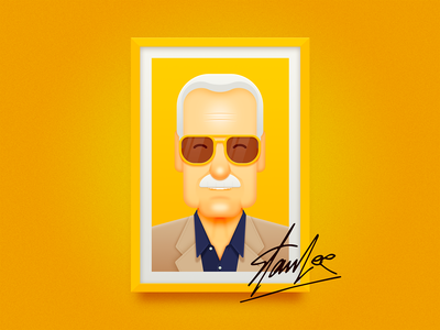 Stan Lee yellow stan old people hero picture frame glasses app ui icon ux avengers