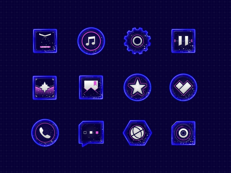Science Fiction Theme Icon Design ux fui camera browser sms dial heart safety mail album calendar setting music icon app store