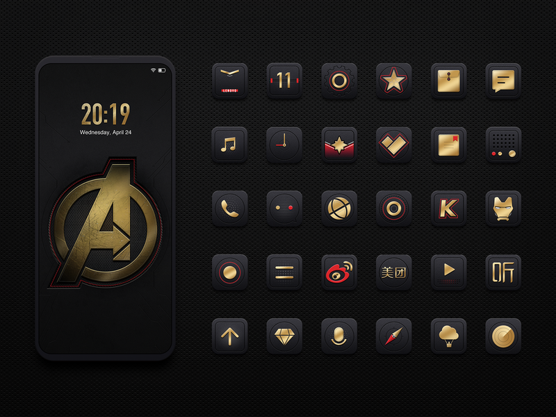 Avengers Mobile Theme Design radio gem upgrade video music sms calculator voice compass camera recorder browser weibo iron man file app store ui icon ux