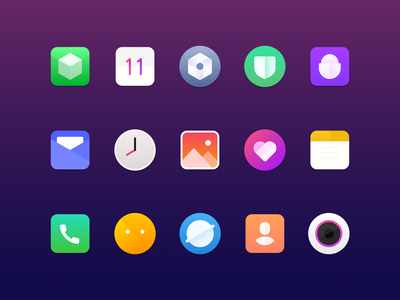 Mobile Desktop Icon app gallery clock setting address book information mail browser safety camera ui icon ux