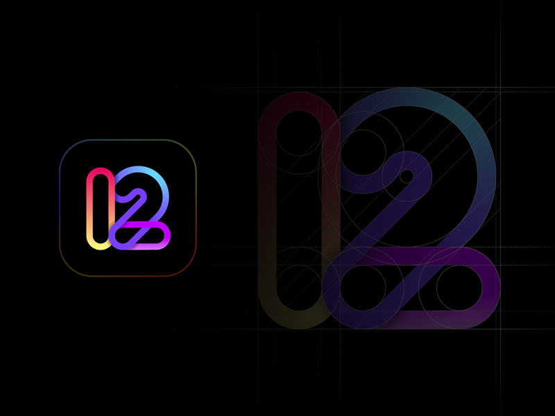 Twelve Font Logo black gradient digital color 12 logo icon ux